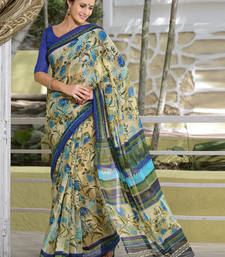 Buy Blue printed cotton poly saree with blouse printed-saree online