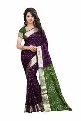 Purple printed cotton art silk saree