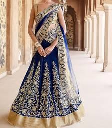 Buy Blue embroidered net unstitched lehenga bridal-lehenga online