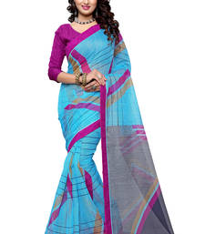 Buy Turquoise printed supernet saree with blouse supernet-saree online