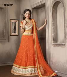 Buy Weding Special Offer Orange Net With Work embroidered unstitched pakistani lehenga-choli eid-lehenga online