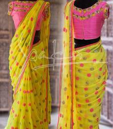 Buy yellow embroidery work georgette traditional saree with blouse georgette-saree online