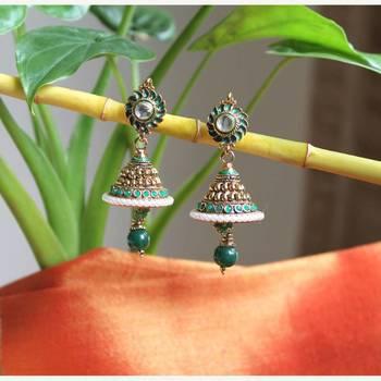 Jhumki Earrings with green drop
