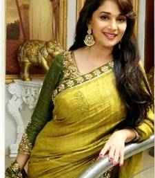 Buy Mehendi embroidered bhagalpuri art silk saree with blouse madhuri-dixit-saree online