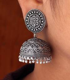 Buy Hot Sales Amazing New Look Handmade Oxidised Silver Tone Jhumka Earrings jhumka online
