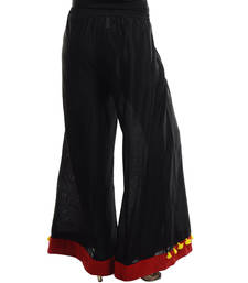 Buy Women's Designer Black Cotton Silk Palazzo With Red Border palazzo-pant online