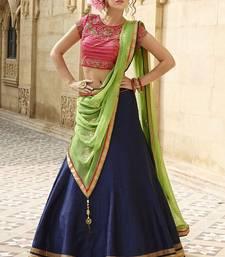 Buy Blue embroidered bhagalpuri silk semi-stitched lehenga ghagra-choli online