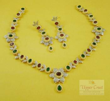 Ruby Emerald Pearl  CZ Necklace Earring Set
