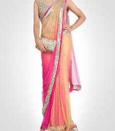 Buy Pink embroidered nylon saree with blouse black-friday-deal-sale online