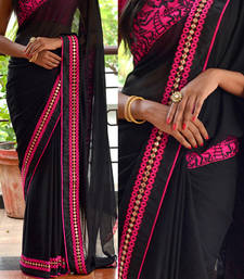 Buy Black embroidered georgette saree with blouse wedding-saree online