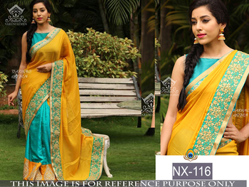Yellow embroidered paper cotton saree with blouse