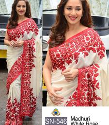 Buy White embroidered georgette saree with blouse black-friday-deal-sale online