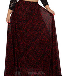 Buy Black and red net printed free size skirts long-skirt online