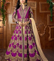 Buy Dark magenta embroidered silk salwar bollywood-salwar-kameez-online online