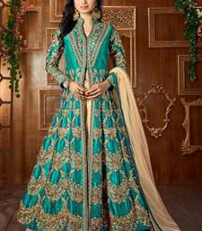 Buy Dark green embroidered art silk semi stitched salwar with dupatta party-wear-salwar-kameez online