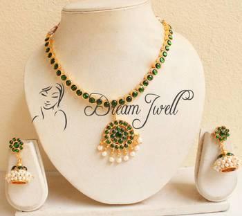Buy Beautiful Green Temple Jewel Necklace Set Online