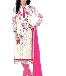 Buy White embroidered cotton poly unstitched salwar with dupatta ready-to-ship-salwar-kameez online