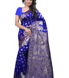 Buy Blue woven banarasi silk saree with blouse banarasi-saree online