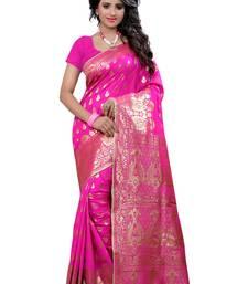 Buy Pink woven banarasi silk saree with blouse banarasi-saree online
