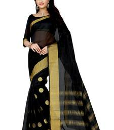 Buy Black embroidered cotton silk saree with blouse below-500 online
