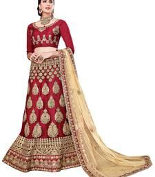 Buy Maroon embroidered net unstitched lehenga bridal-lehenga online