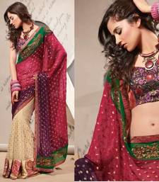 Buy Designer  Embroidered Beige and Cerise Pink Net Party Saree.1622 party-wear-saree online