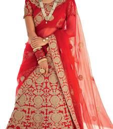 Buy red embroidered silk lehenga with choli ethnic-lehenga online