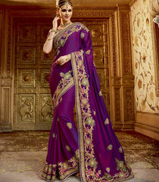 Buy Purple embroidered satin saree with blouse satin-saree online
