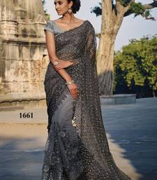 Buy Bluis Gray Embroidered Chikan Net saree with blouse net-saree online