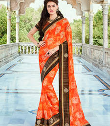 Buy orange embroidred georgette saree with blouse heavy-work-saree online