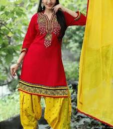 Buy Red embroidery cotton semi stitched salwar with dupatta patiala-salwar online