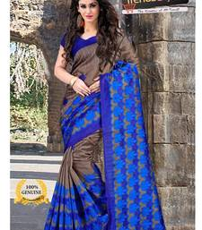 Buy Blue cotton printed  saree with blouse cotton-silk-saree online