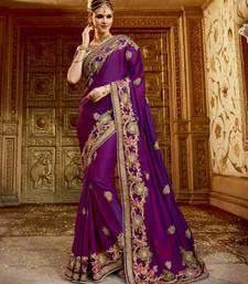 Buy Purple embroidered satin saree with blouse wedding-season-sale online