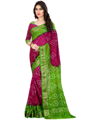 Pink and Green Printed Cotton Silk saree with blouse