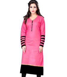 Buy Pink plain cotton long-kurtis long-kurti online