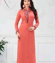 Buy Peach georgette embroidered stitched kurti georgette-kurti online