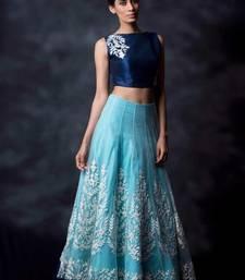 Buy Navy blue embroidered art silk semi stitched salwar with dupatta wedding-salwar-kameez online
