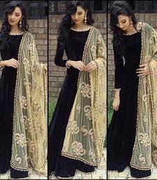 Buy Black embroidered art silk semi stitched salwar with dupatta wedding-salwar-kameez online