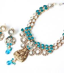 Buy Lakshmi Layered Kundan Polki Maharani Necklace - Sea Blue Colour necklace-set online