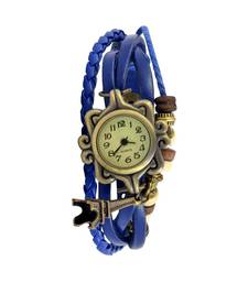 Buy In Love With The Eiffel TowerBlue Colour Faux Leather Beadwork Hipster Watch vintage-watch online