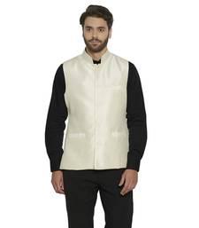 Buy irin Designer Ethnic Blended Silk Cream Solid Koti (Waistcoat) For Men gifts-for-dad online