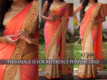 Peach net and silk designer saree