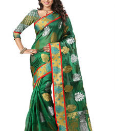 Buy Green plain tissue saree with blouse tissue-saree online