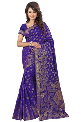 Blue plain tissue saree with blouse