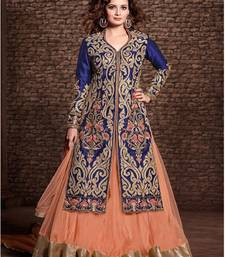 Buy Blue embroidered georgette semi stitched salwar with dupatta anarkali-salwar-kameez online