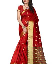 Buy sarees for women party wear New Collection Fancy And Regular Wear Red Color Saree By Dhyey Creation banarasi-silk-saree online