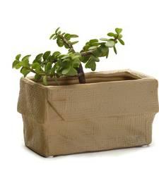 Buy Crumpled Look Brown Rectangle Ceramic Planter Pot pot online