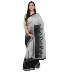 Buy Grey embroidered cotton silk saree with blouse cotton-silk-saree online
