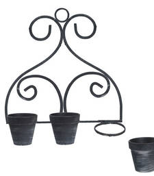 Buy Stylish Black & Grey 10.7 CM Planter Pots with Stand pot online