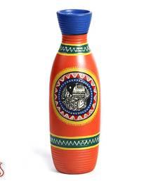 Buy Bright Orange Hand Painted Terracotta Vase with Tribal Art vase online
